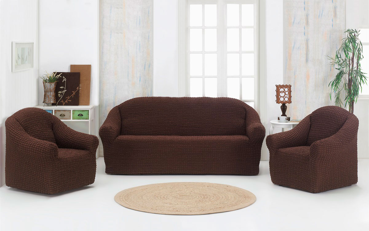 Набор чехлов дла дивана и кресел Karna, без юбки, цвет: коричневый, 3 предмета набор чехлов для дивана и кресел мартекс с карманами 3 предмета 05 0751 3