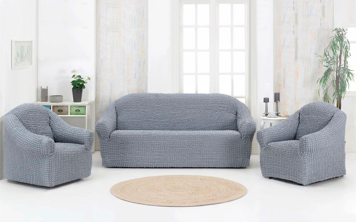 Набор чехлов дла дивана и кресел Karna, без юбки, цвет: серый, 3 предмета набор чехлов для дивана и кресел мартекс с карманами 3 предмета 05 0751 3