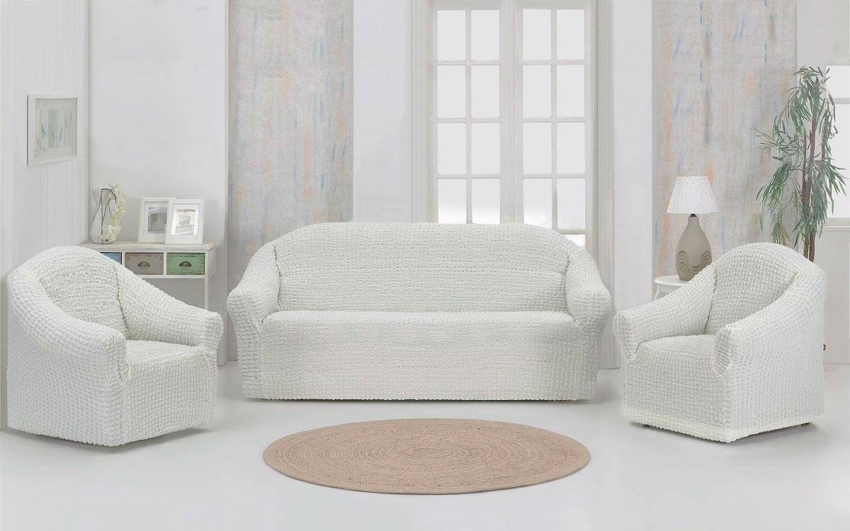 Набор чехлов дла дивана и кресел Karna, без юбки, цвет: слоновая кость, 3 предмета набор чехлов для дивана и кресел мартекс с карманами 3 предмета 05 0751 3