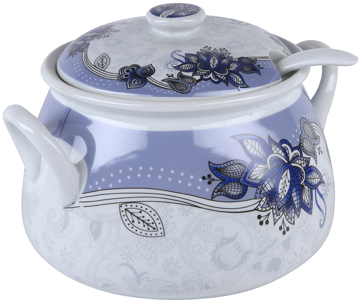 """Супница Rosenberg """"RCE-320002-LB"""", цвет: белый, голубой, 2500 мл. 77.858@26804"""