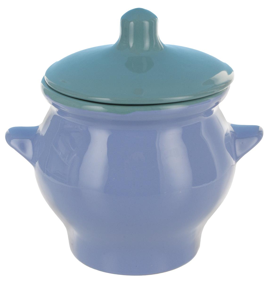 Горшок для жаркого Борисовская керамика Радуга, цвет: голубой, бирюзовый, 650 мл розетка для варенья борисовская керамика радуга цвет голубой 200 мл