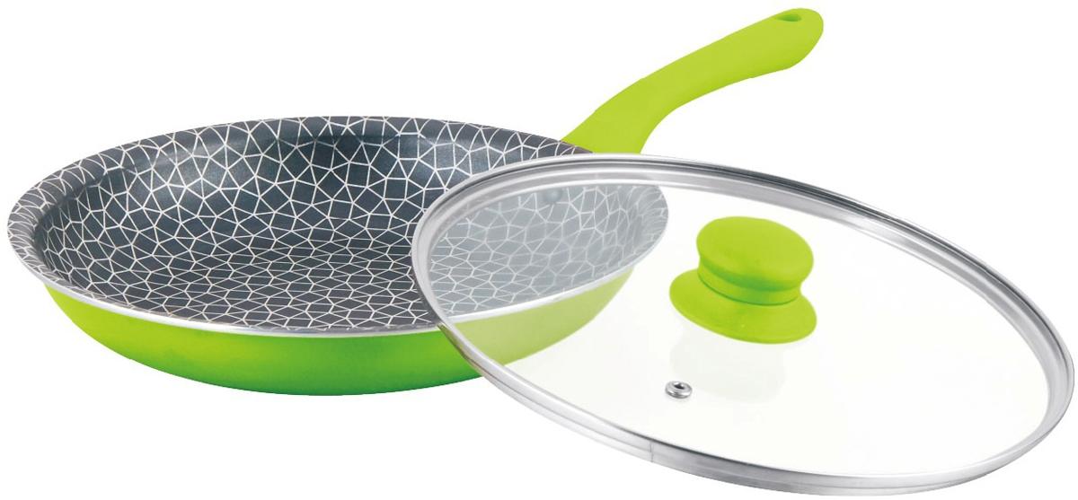 """Сковорода """"Mercury"""", с крышкой, цвет: зеленый. Диаметр 26 см. MC-6266"""