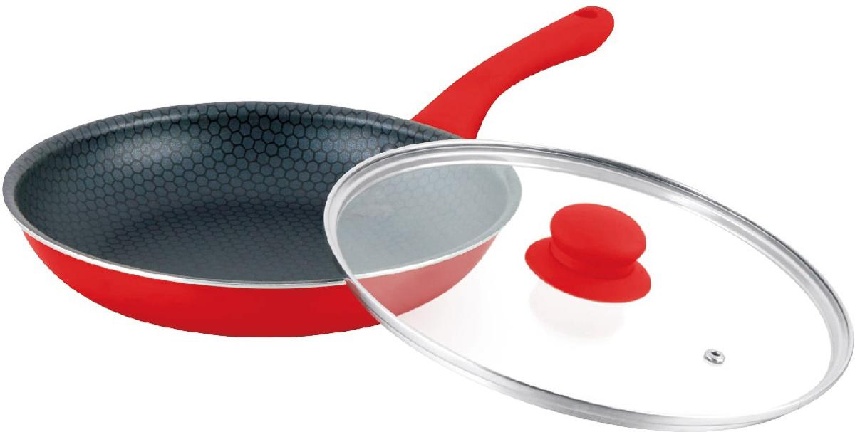 """Сковорода """"Mercury"""", с крышкой, цвет: красный, диаметр 26 см. MC-6246"""