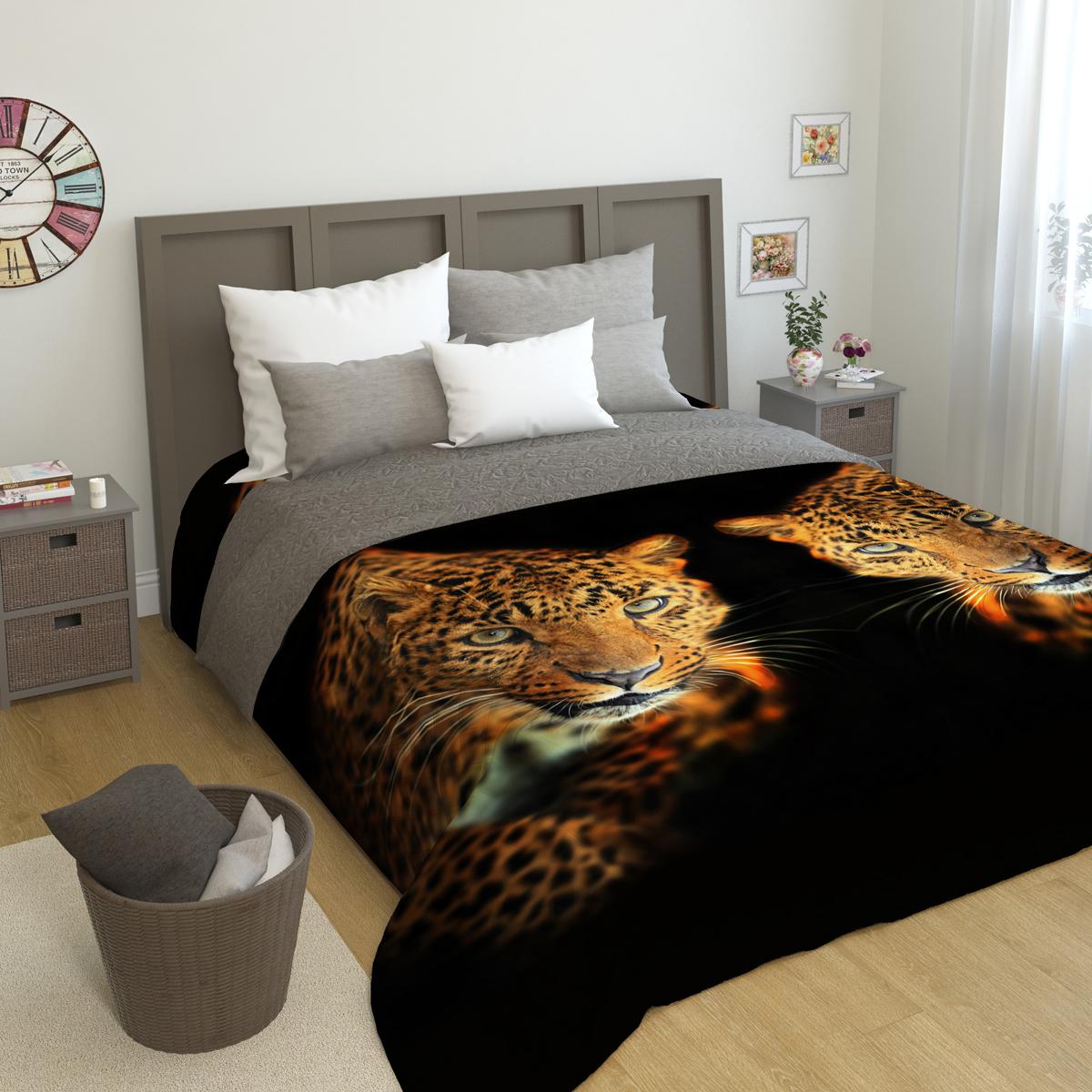 """Покрывало стеганое Сирень """"Два леопарда"""", 200 х 220 см"""