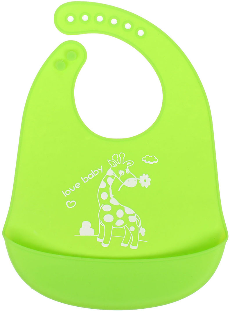 Крошка Я Нагрудник силиконовый цвет зеленый 2793101 крошка я нагрудник на липучке улитка