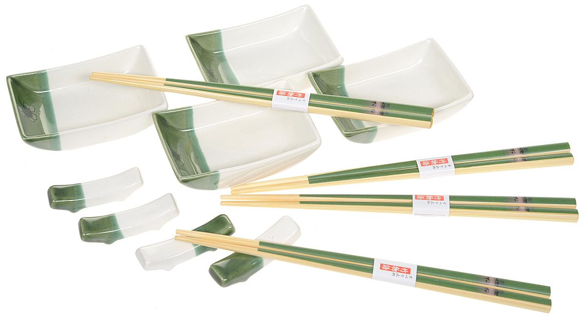 Набор для суши, цвет: белый, зеленый, светло-бежевый, 12 предметов