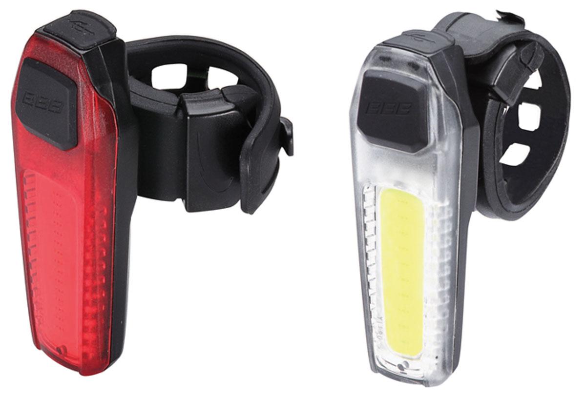 цена на Комплект велосипедных фар BBB SignalCombo, передняя, задняя, с перезаряжаемой литиевой батареей, цвет: черный