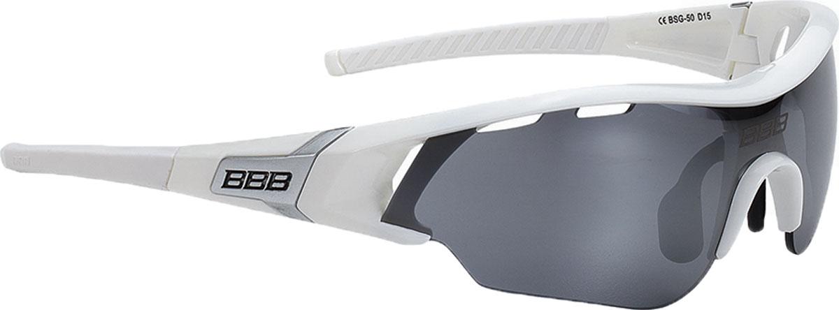 """Очки солнцезащитные велосипедные BBB """"2018 Summit PC Smoke Flash Mirror Lens"""", цвет: белый, серебристый"""
