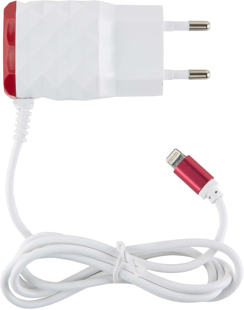 Red Line NC-2.1AC, Red 2 USB+Lightning сетевое зарядное устройство red line zync alloy black кабель usb lightning 1 м