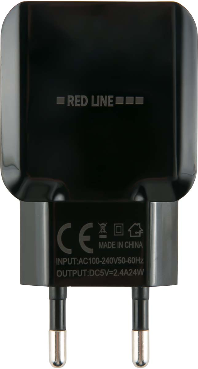 Red Line NC-2.4A, Black сетевое зарядное устройство + кабель Type-C