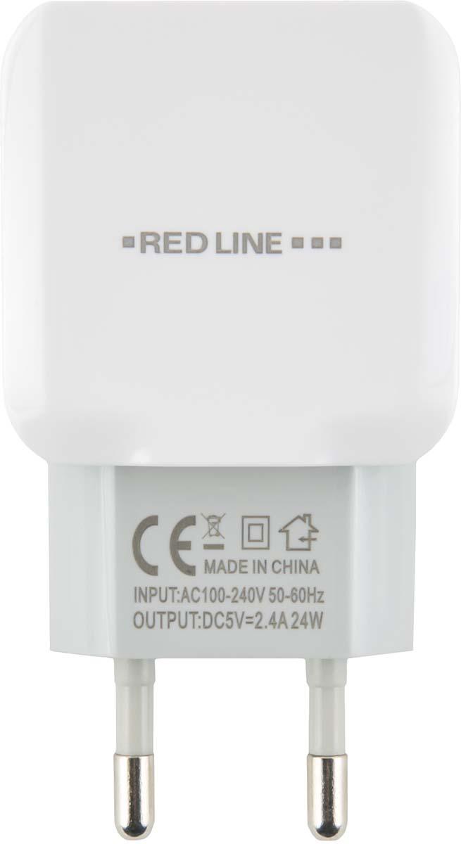 Red Line NC-2.4A, White сетевое зарядное устройство + кабель Type-C зарядное устройство red line 2 usb модель nc 2 4a white
