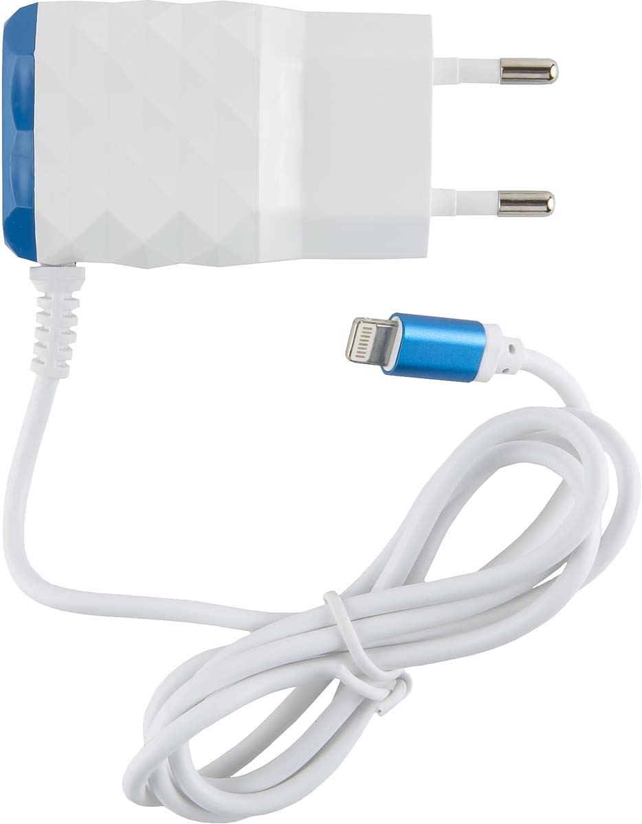 Red Line NC-2.1AC, Blue 2 USB+Lightning сетевое зарядное устройство red line nc 2 1ac white 2 usb micro usb сетевое зарядное устройство