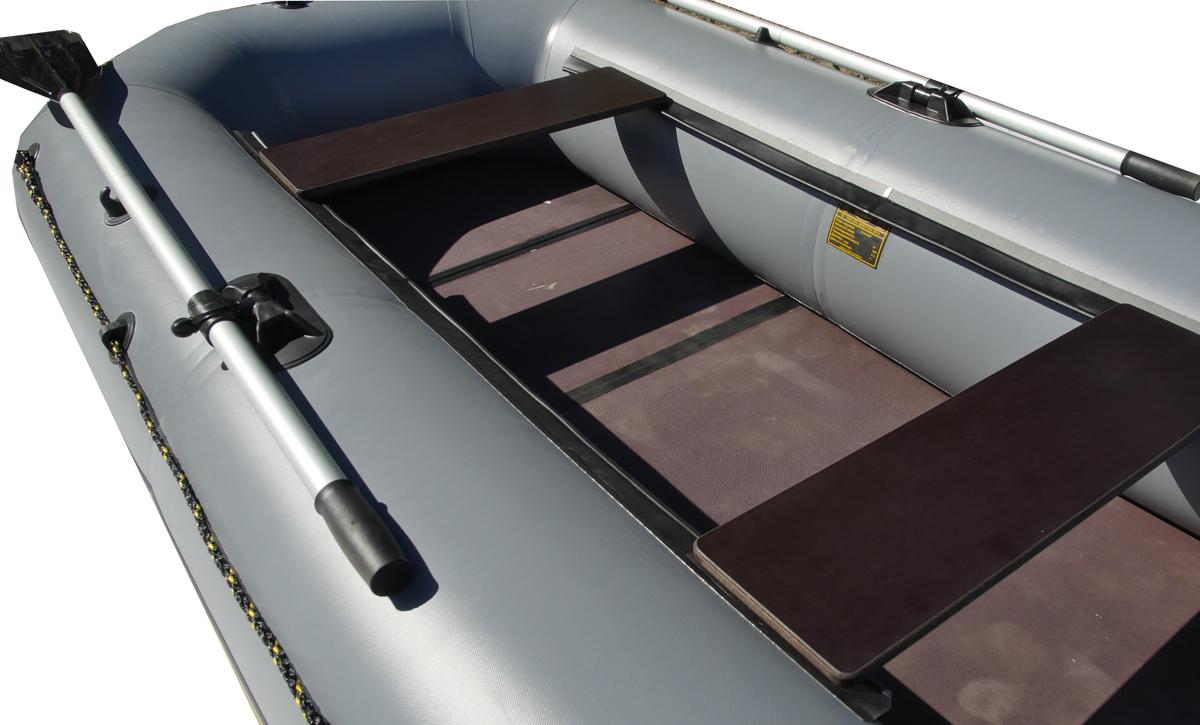 """Лодка надувная Leader """"Компакт-300"""", гребная, цвет: серый"""