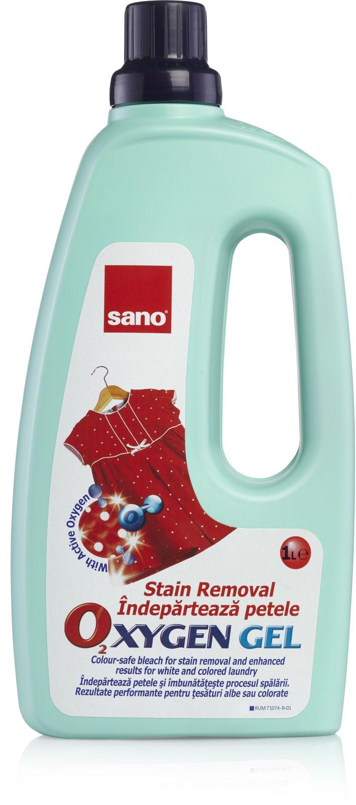 Гель-пятновыводитель для стирки Sano Oxygen, для белого и цветного белья, 1 л гель для стирки sano coldwater sensitive концентрированный 2 л