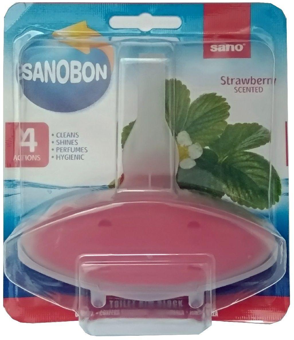 Подвеска для унитаза Sano Sanobon. Strawberry, 55 г600105Подвески для унитаза Sanobon Клубника Серия экономичных упаковок для унитаза. До 800 сливов Обеспечивают гигиеническую чистоту, очищают, придают блеск, освежают. Аромат свежести. Окрашивает воду в