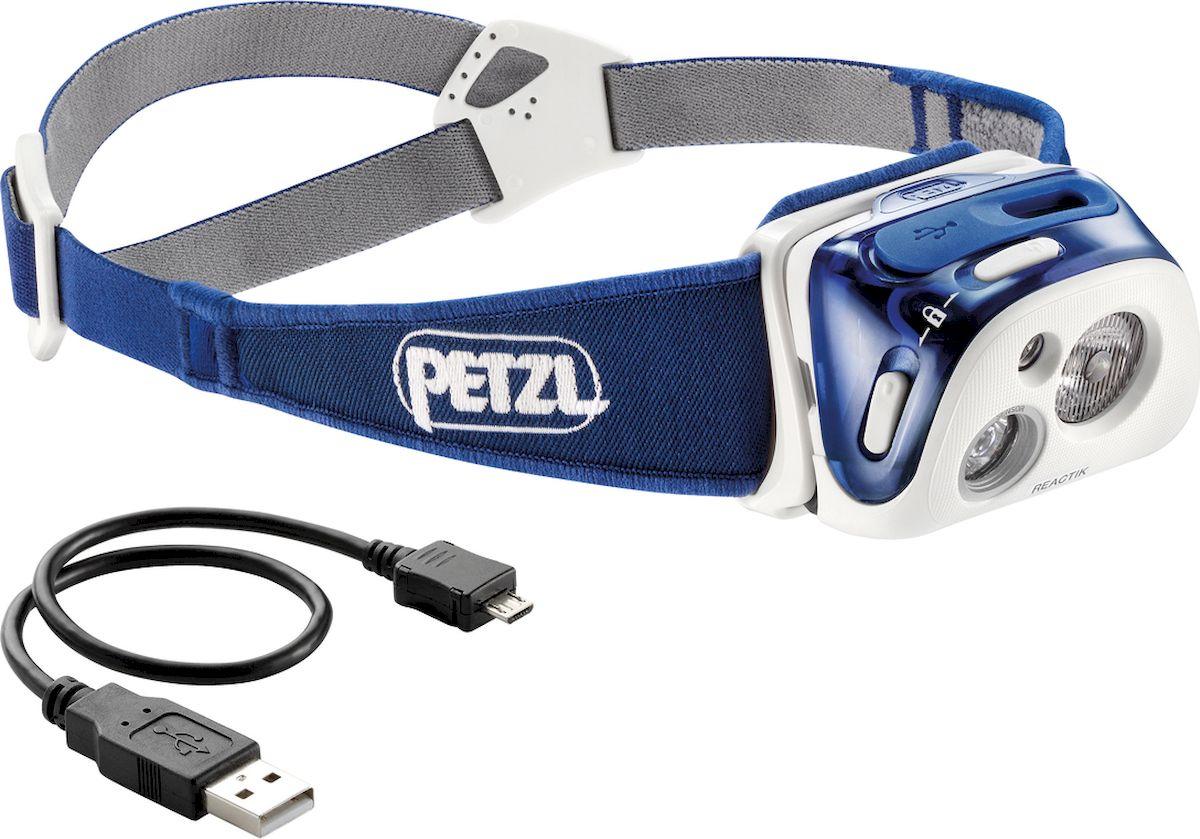 Фонарь налобный Petzl Reactik, LED, цвет: синий батарейный блок для фонарей petzl reactik reactik черный