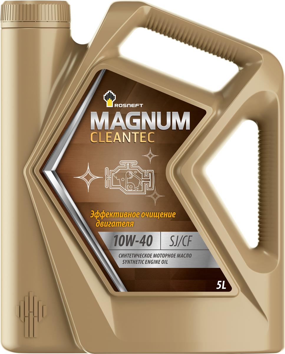 Масло моторное Роснефть Magnum Cleantec, синтетическое, 10W-40, 5 л масло моторное rolf dynamic sae 10w 40 api sj cf 4 л