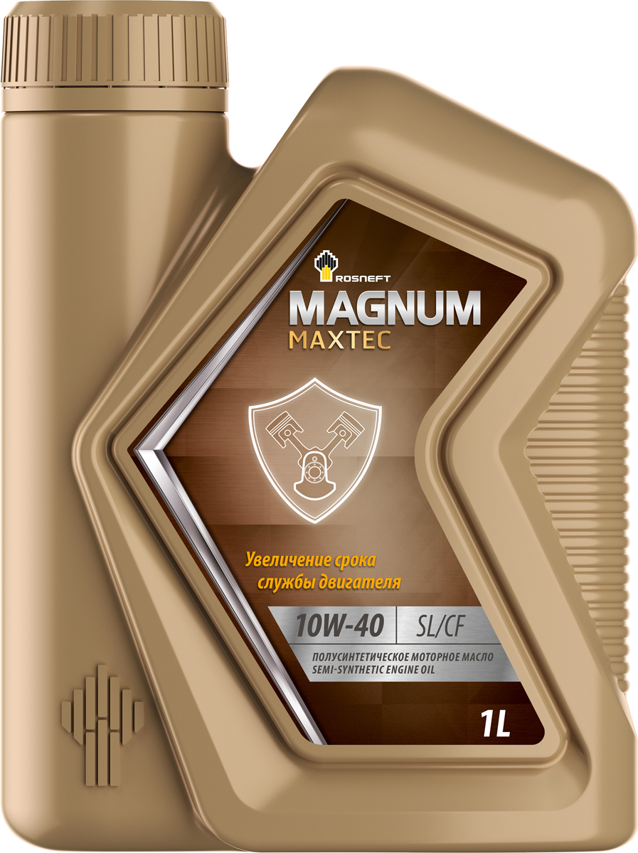 Масло моторное Роснефть Magnum Maxtec, полусинтетическое, 10W-40, 1 л масло моторное rolf dynamic sae 10w 40 api sj cf 4 л