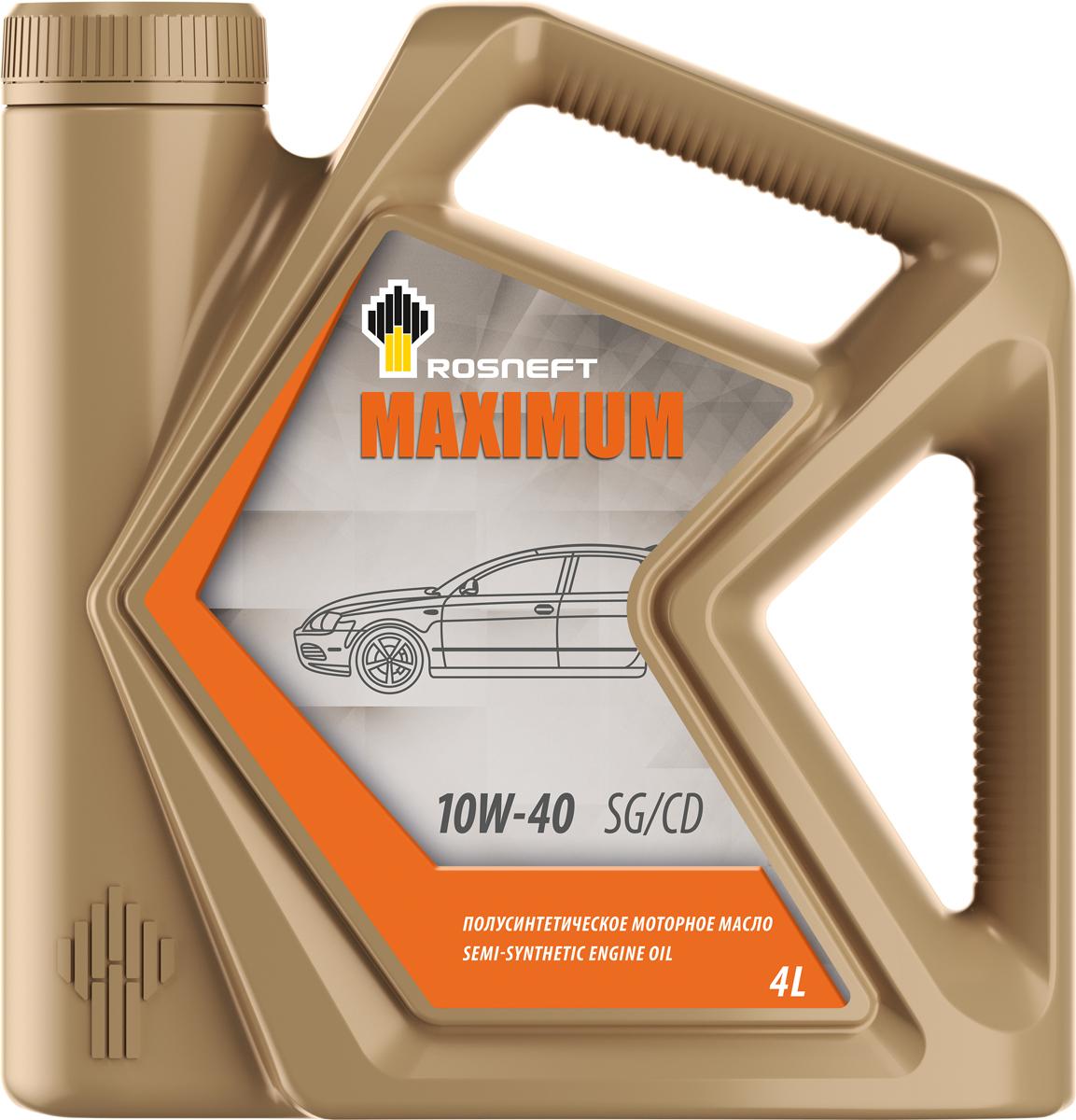 Масло моторное Роснефть Maximum, полусинтетическое, 10W-40, 4 л моторное масло роснефть 4 л 40814942