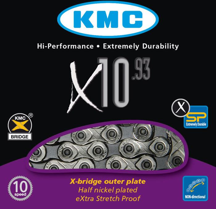 Цепь велосипедная KMC-X10 10 ск, 118 звеньев