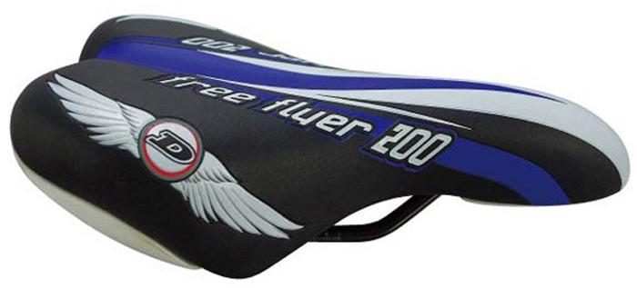 Седло велосипедное DDK 1217A, подростковое, цвет: черный, голубой седло для велосипеда ventura junior подростковое 228х150мм универсальное 16 24 5 250203