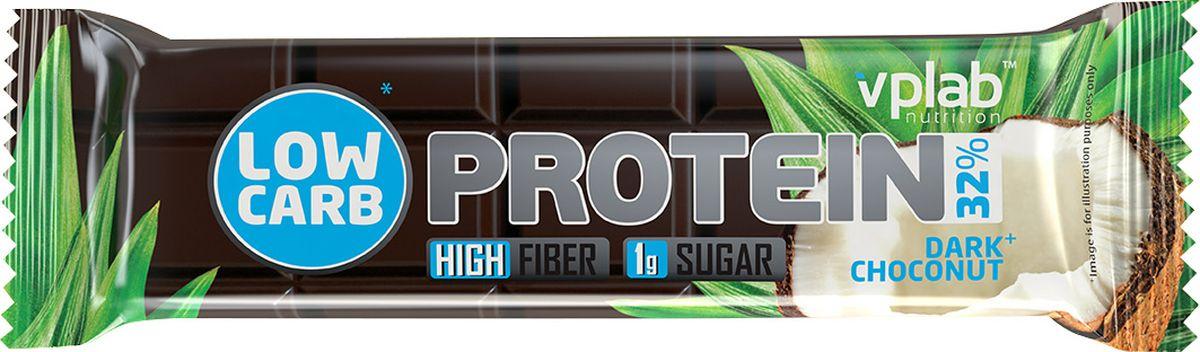 Протеиновый батончик VP Laboratory Low Carb Protein Bar, темный шоколад, кокос, 35 г цена
