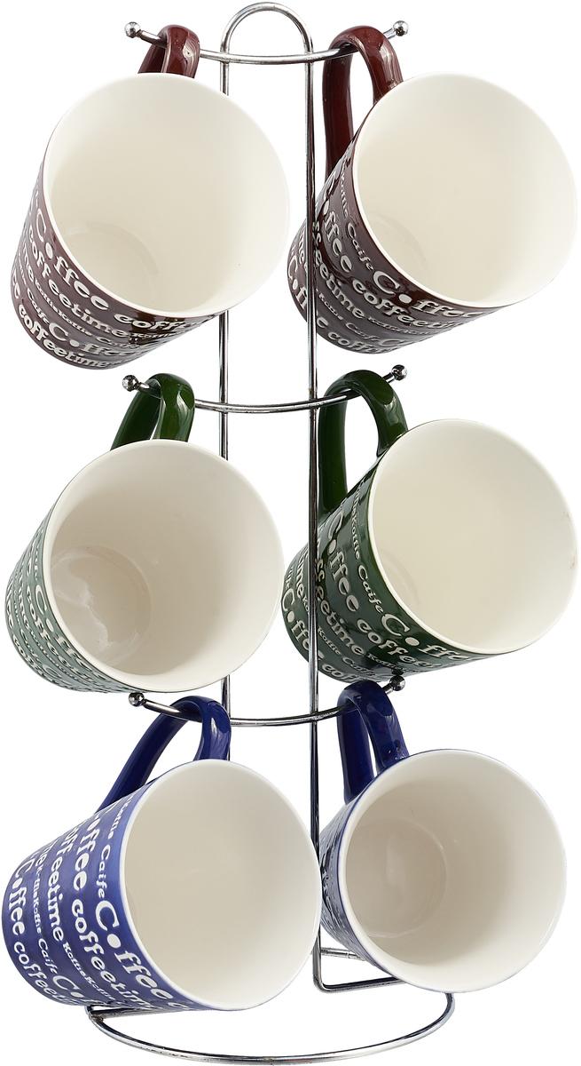 Набор кружек Loraine, цвет: коричневый, синий, зеленый, 7 предметов конфетница loraine олива цвет белый зеленый синий