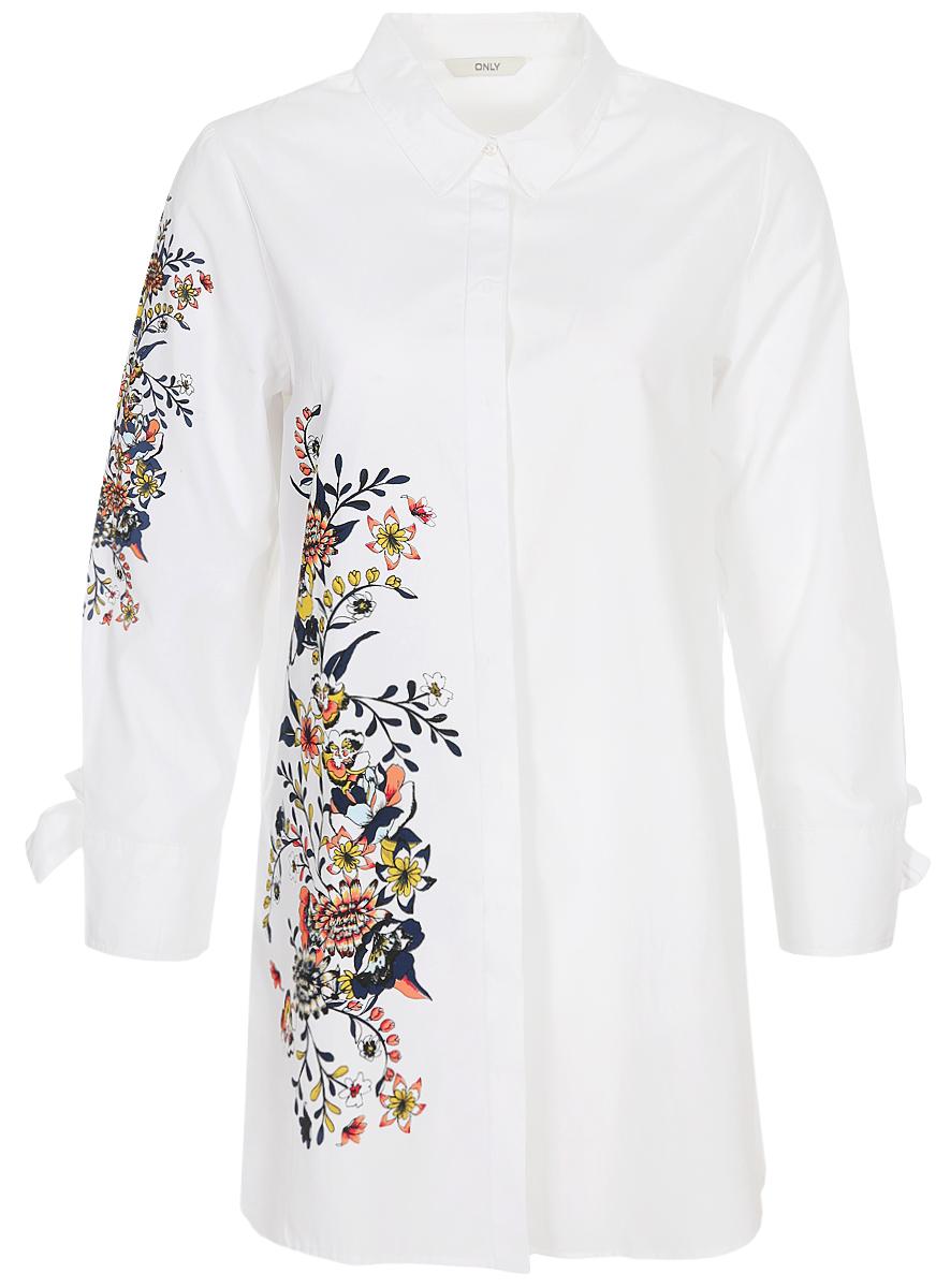 цены Блузка женская Only, цвет: белый. 15150886. Размер 40 (46)