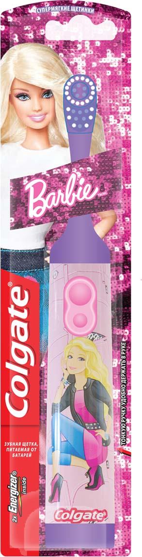 Colgate Зубная щетка Barbie, электрическая, с мягкой щетиной, цвет: фиолетовый colgate зубная щетка зигзаг с древесным углем средняя жесткость цвет черный розовый