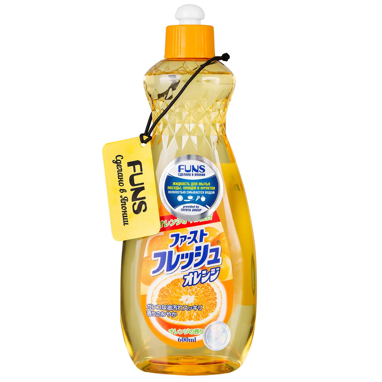 Жидкость для мытья посуды свежий Funs, апельсин, 600 мл жидкость для мытья посуды аромат лайма 600 мл funs для посуды