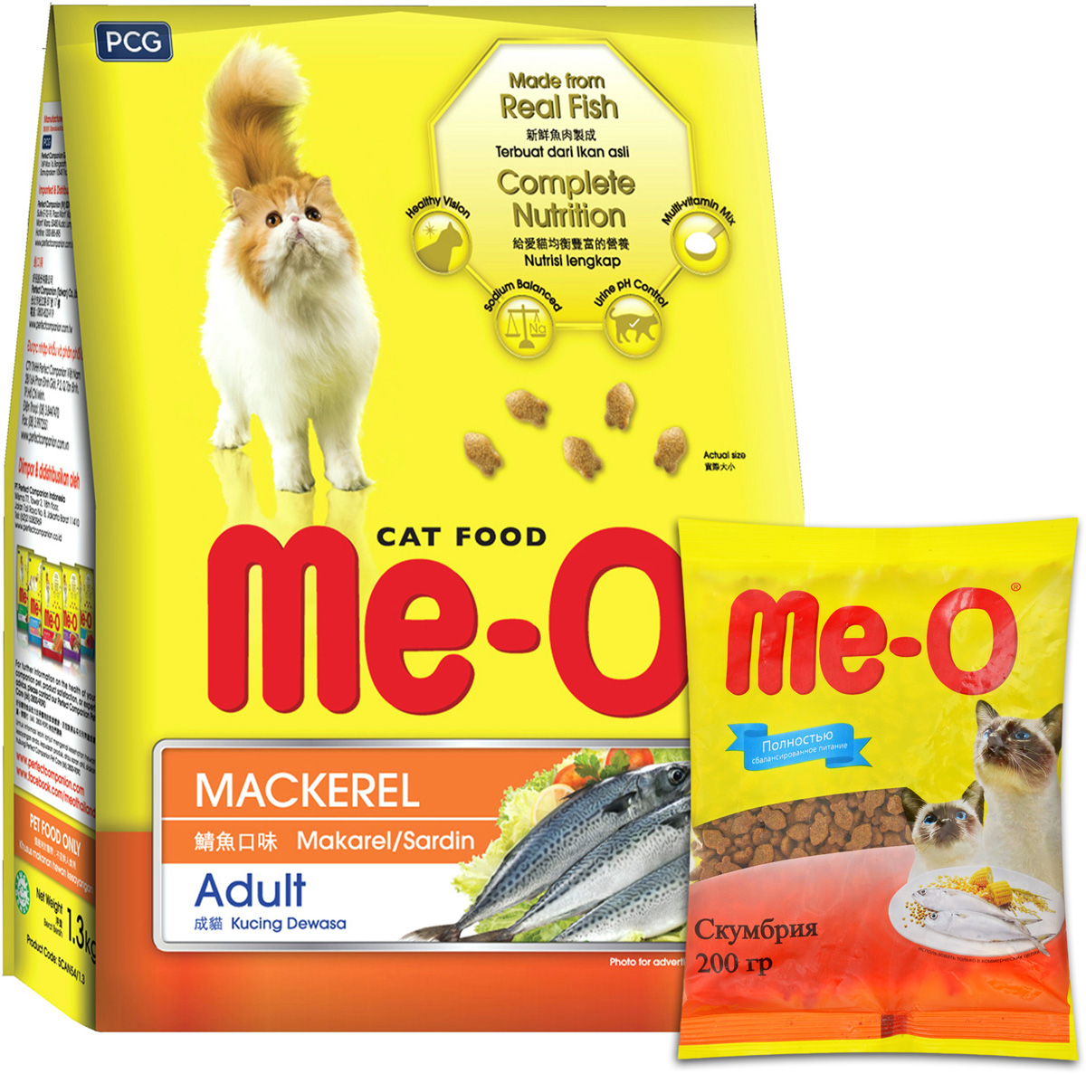Корм сухой для кошек и котов PCG Ме-О, скумбрия, 35 шт х 200 г (7 кг) паучи для кошек и котов pcg ме о сардина с курицей и рисом в желе 80 г