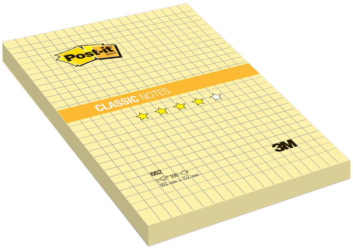 Бумага для заметок Post-it, с липким слоем, цвет: желтый, 100 листов. 662 berlingo бумага для заметок c клеевым краем 7 6 х 7 6 см цвет зеленый 100 листов