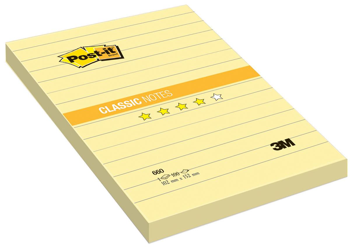 Бумага для заметок Post-it, с липким слоем, цвет: желтый, 100 листов клейкая бумага для заметок post it basic 345936 3 8 х 5 1 см 12 блоков по 100 листов