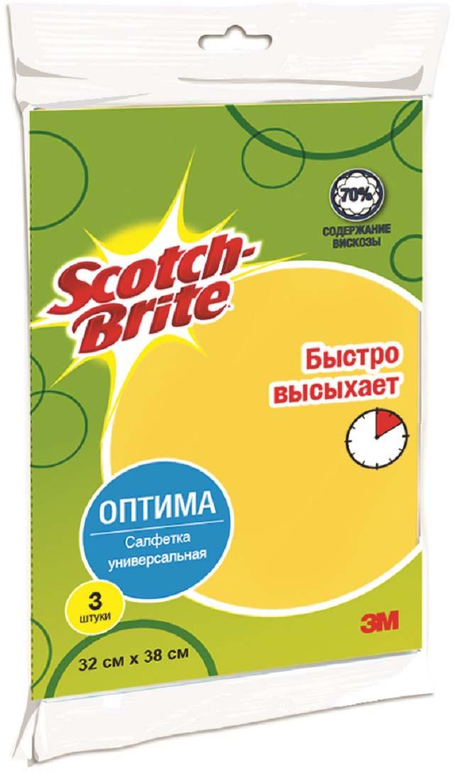 Салфетка Scotch-Brite универсальная, цвет: желтый, 3 шт салфетка подставка orange квадратная цвет сиреневый 20 см х 20 см
