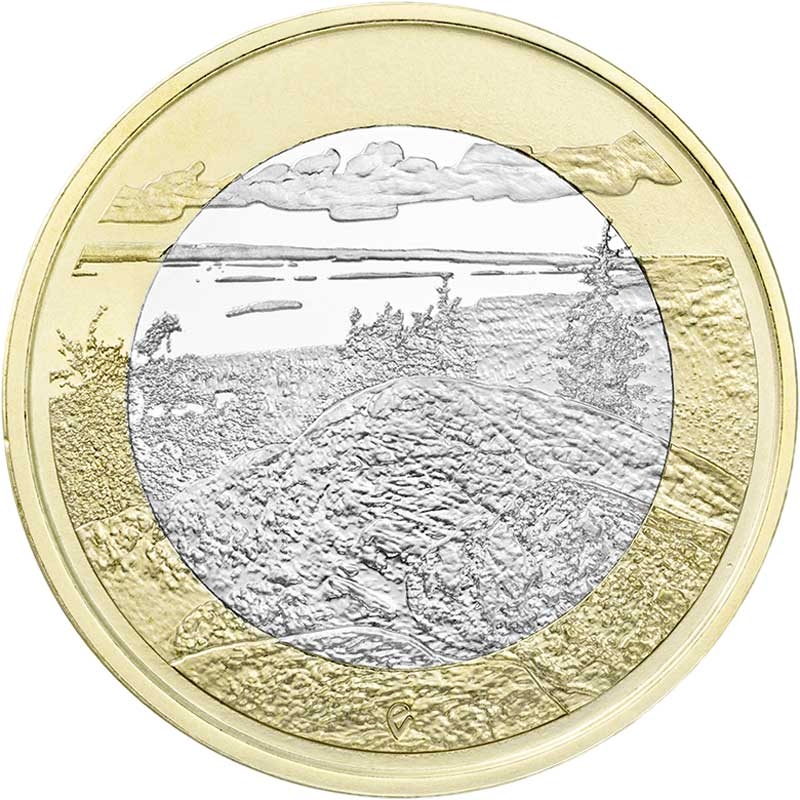 Монета номиналом 5 евро 2018 Финляндия, Национальный парк Коли монета номиналом 10 марок финляндия 1952