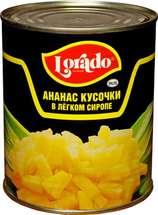 Lorado Ананас кусочки в легком сиропе, 850 мл lorado томаты маринованные 720 мл