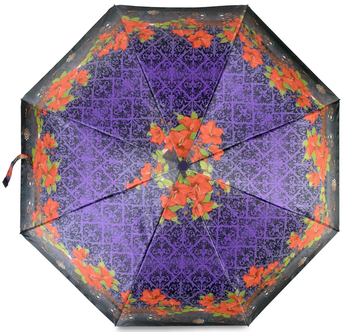 Зонт женский Baudet, автомат, 3 сложения, цвет: фиолетовый. 10598-6-503 цены онлайн
