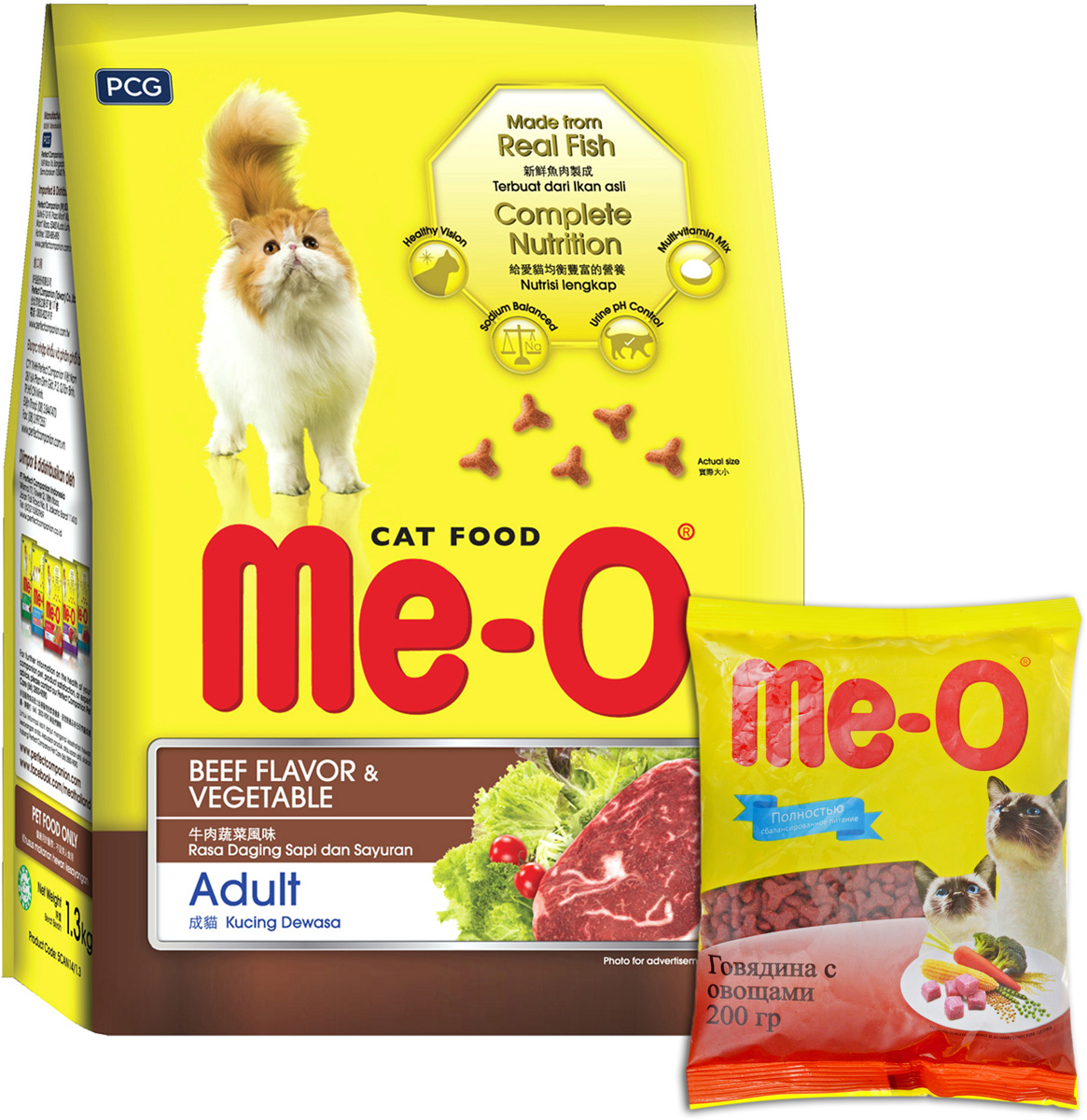 Корм сухой для кошек и котов PCG Ме-О, говядина с овощами, 200 г, 35 шт паучи для кошек и котов pcg ме о сардина с курицей и рисом в желе 80 г