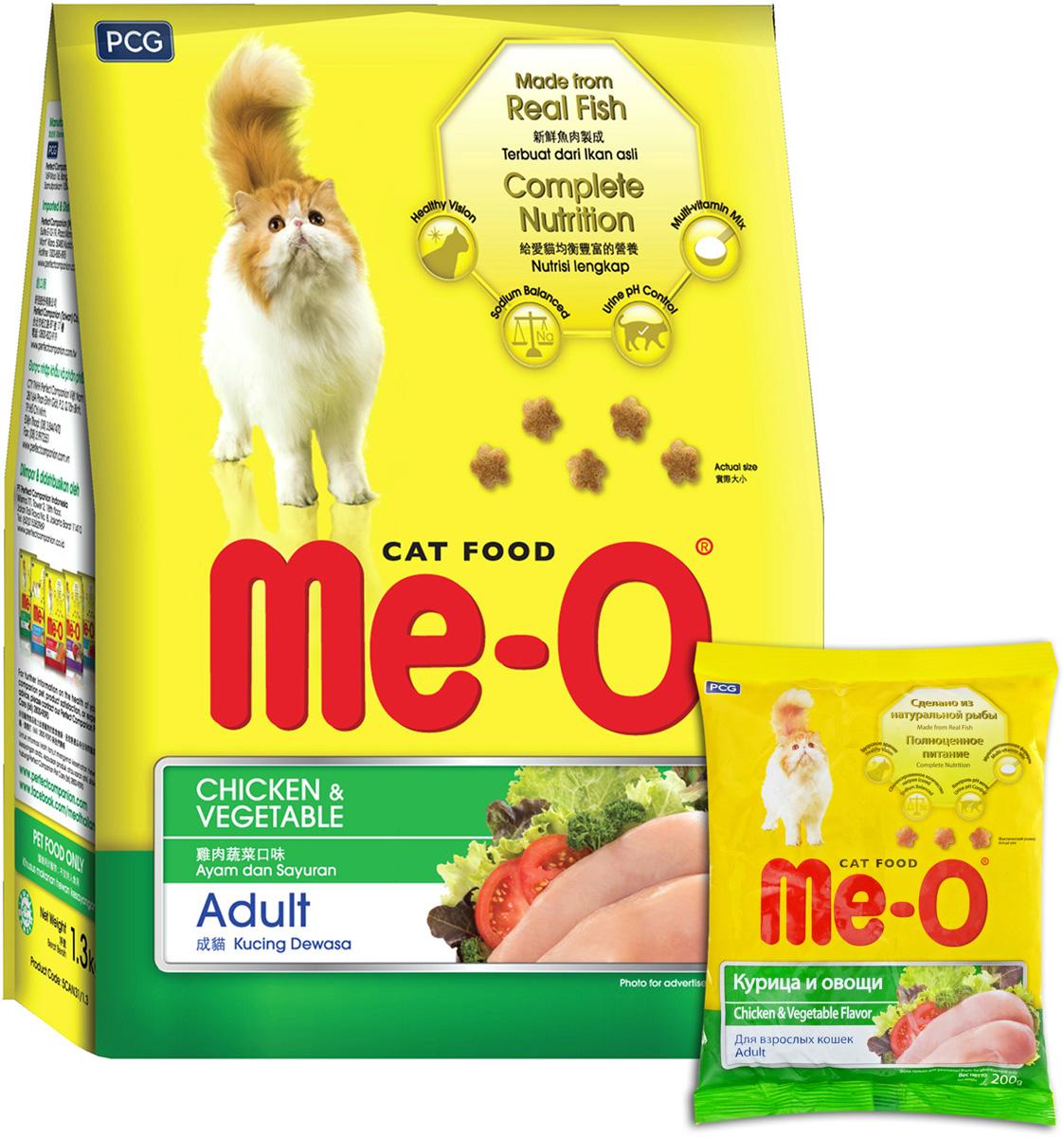 Корм сухой для кошек и котов PCG Ме-О, курица с овощами, 35 шт х 200 г (7 кг) паучи для кошек и котов pcg ме о сардина с курицей и рисом в желе 80 г