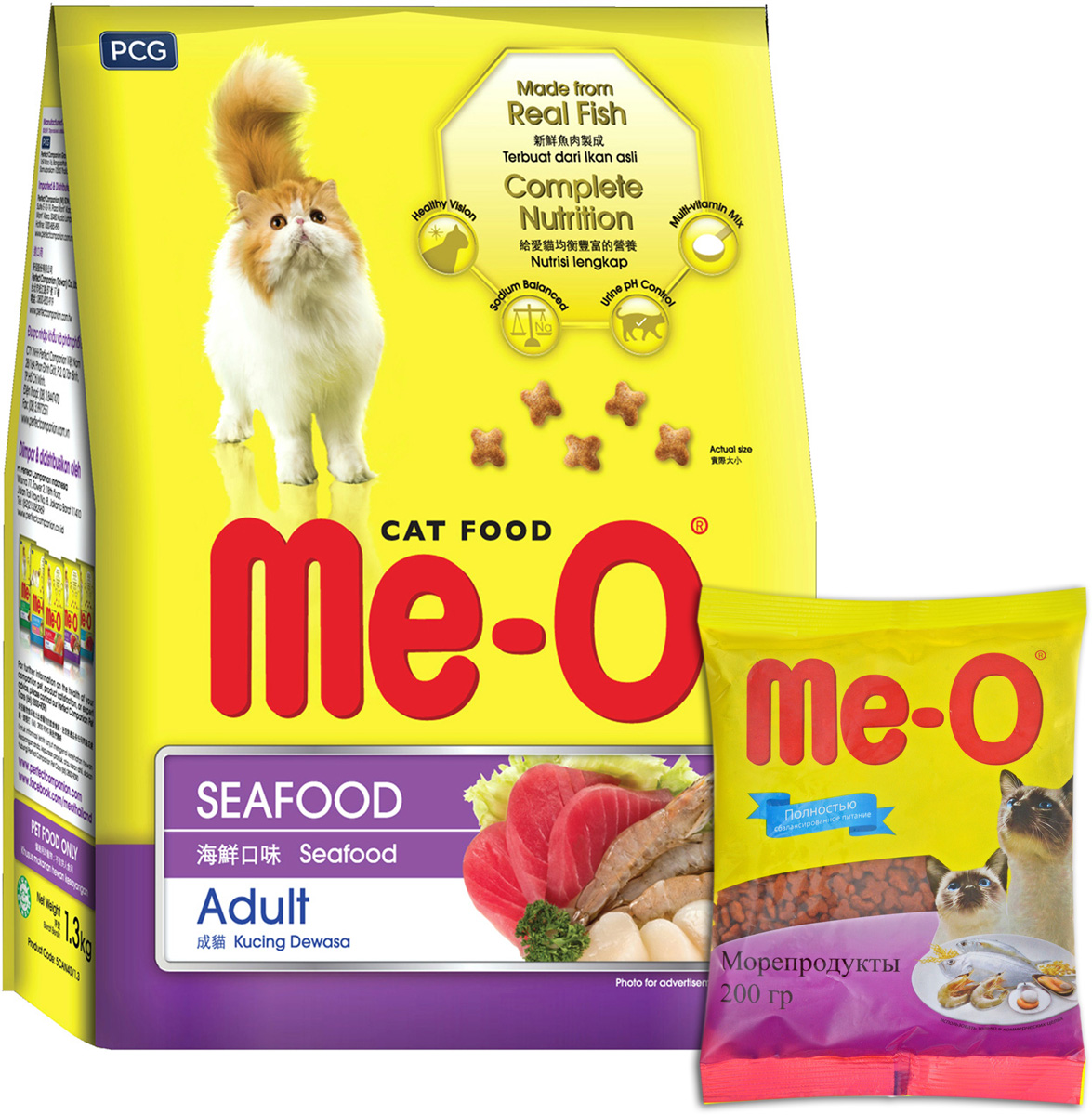 Корм сухой для кошек и котов PCG Ме-О, морепродукты, 200 г, 35 шт паучи для кошек и котов pcg ме о сардина с курицей и рисом в желе 80 г