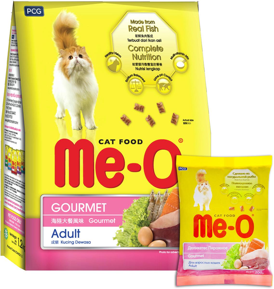Корм сухой для кошек и котов PCG Ме-О. Деликатес, 200 г, 35 шт паучи для кошек и котов pcg ме о сардина с курицей и рисом в желе 80 г