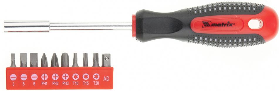 Отвертка Matrix Fusion, с набором бит, 3-компонентная рукоятка, 10 шт отвертка matrix 12216 sl5 100мм anti slip