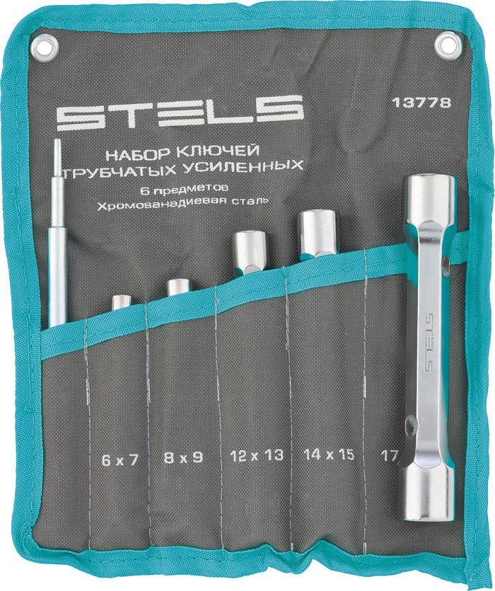 Набор ключей-трубок торцевых Stels, усиленных, 6 шт13778Набор ключей торцевых, двусторонних. Используются при монтаже - демонтаже в труднодоступных местах, когда болтовые соединения размещены в значительных углублениях или при демонтаже шпилек. Изготовлены из хромованадиевой стали. Выдерживают значительные усилия по сравнению с обычными трубчатыми ключами. Ключи имеют защитное матовое покрытие. В набор входят: 6х7; 8х9; 12х13; 14х15; 17х19 и вороток. Для удобства переноски в комплекте идет удобная сумка.