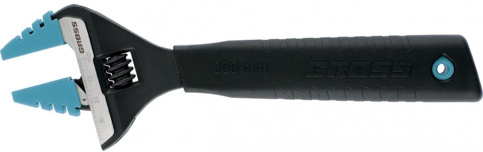 Ключ разводной Gross, с тонкими губками и защитными насадками, 200 мм ключ разводной gross 15562