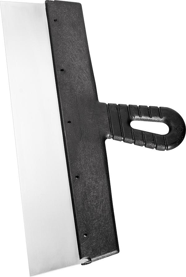 Шпатель фасадный Сибртех, 600 мм85452Полотно шпателя изготовлено из нержавеющей стали 30Х13 (12Х17). Облегченная ручка из ударопрочной пластмассы. Ручка шпателя имеет специальную (изогнутую) форму, что обеспечивает максимально удобную работу. Шпатель предназначен для нанесения, выравнивания и сглаживания шпаклевочного слоя на больших и малых поверхностях.