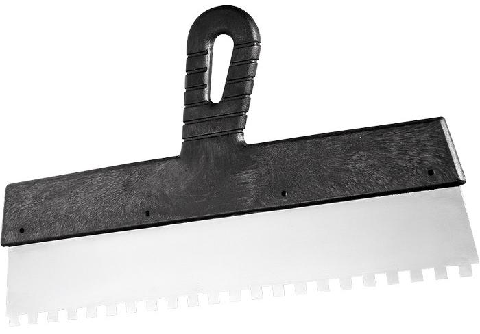 Шпатель Сибртех, зуб 10х10 мм, 250 мм шпатель сибртех 150 мм