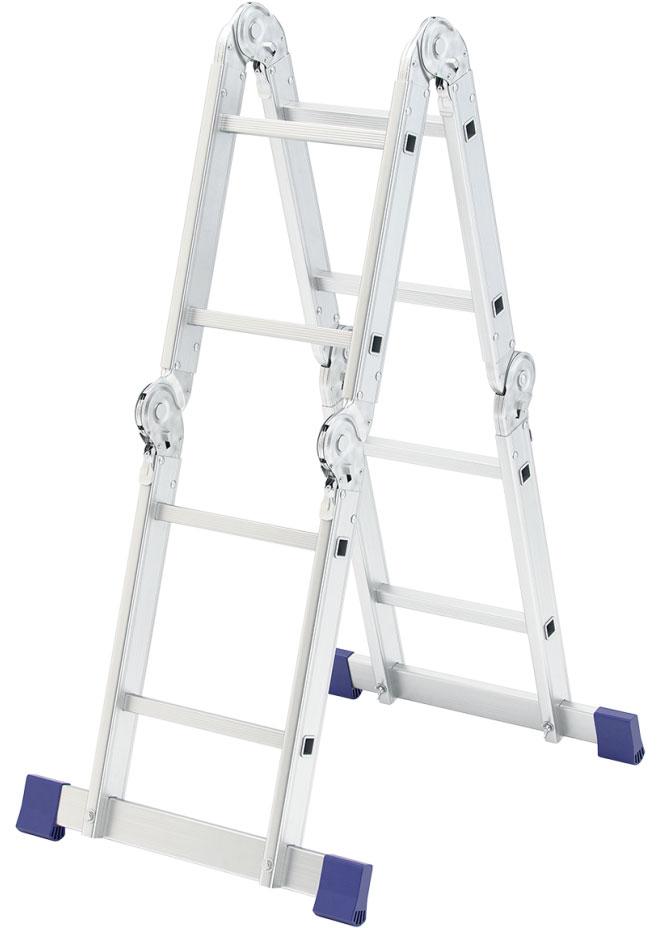 Лестница Сибртех, алюминиевая, шарнирная, 4 х 2 ступеней цена