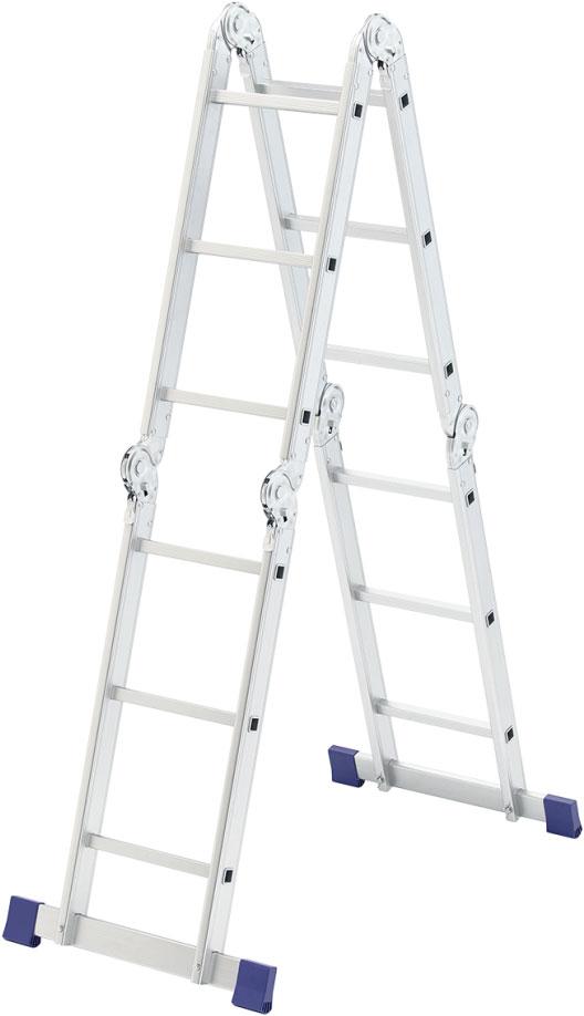 Лестница Сибртех, алюминиевая, шарнирная, 4 х 3 ступеней97881Универсальная лестница-трансформер применяется для проведения ремонтных, строительных и монтажных работ любой сложности. Надежная шарнирная система позволяет фиксировать изделие в четырех положениях: приставная лестница, двусторонняя стремянка, помост, консольная лестница для чердака. Имеет прочную и стойкую к коррозии алюминиевую конструкцию. Компактный размер лестницы в сложенном виде удобен для хранения и транспортировки.Особенности:Надежная и прочная конструкция.Коррозионная стойкость.Минимальный вес.Компактные размеры в сложенном виде.Множество модификаций.Виды модификаций: Приставная лестница.Двусторонняя стремянка. Помост. Консольная лестница для чердака.Количество ступеней: 4х3.Высота одной секции: 0,94 м.Высота двух секций: 1,77 м.Высота четырех секций: 3,54 м. Рекомендуем!