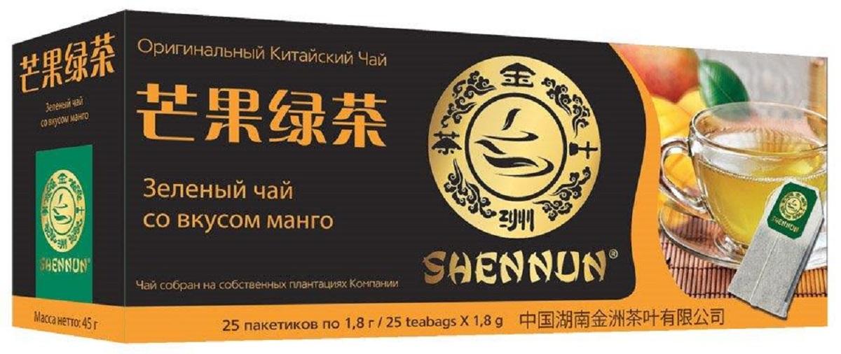 Shennun чай зеленый со вкусом манго пакетированный, 25 шт