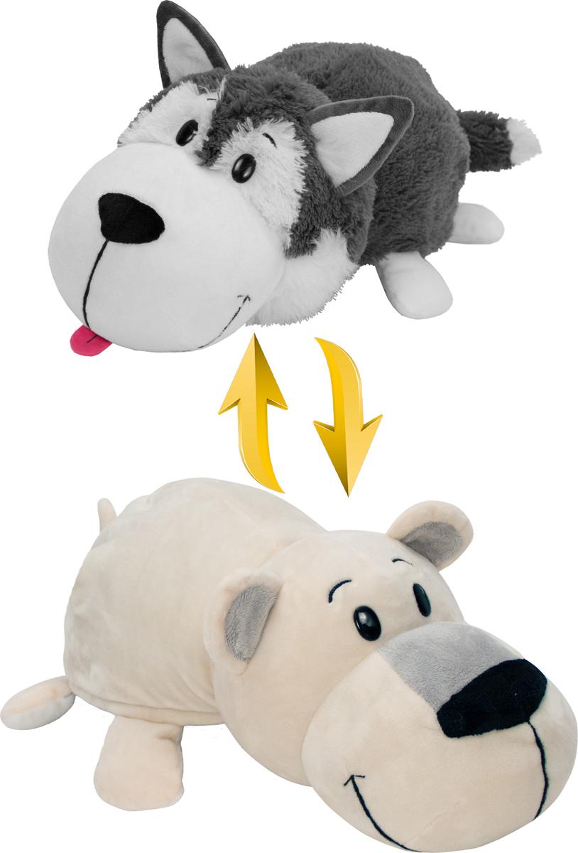 1TOYМягкая игрушкаВывернушка 2в1 Хаски-Полярный медведь 40 см цена в Москве и Питере